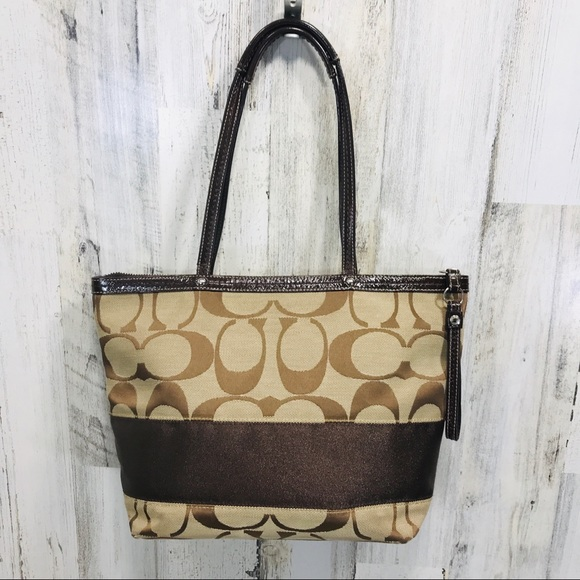 Coach Handbags - Coach Signature Stripe Tote Shopper